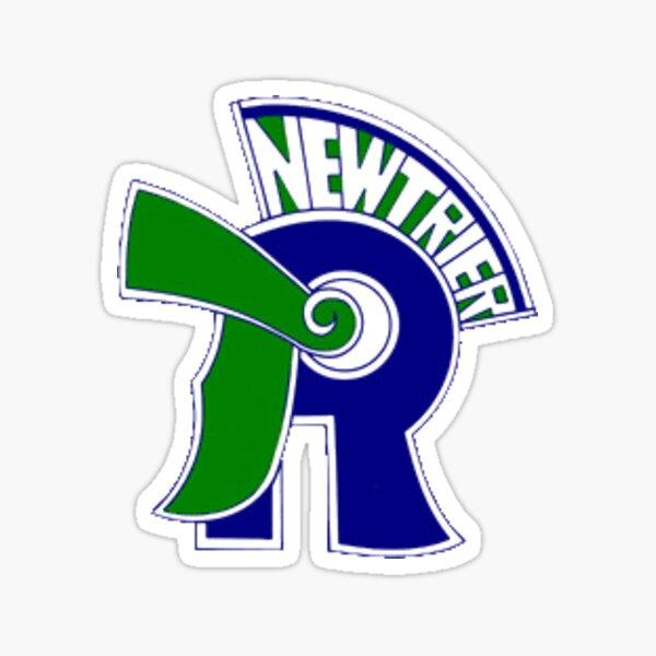 Bright Blue and Green Trevians Silohuette Macscot NT New Trier High School Bubble Lettering Logo Design Sticker