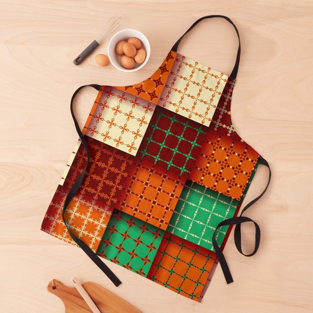 Funky Fall Colors Patchwork Quilt Square Decorative Tiles Apron