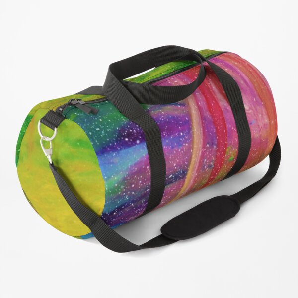 The Aurora - Colourful abstract Northern Lights Painting  Duffle Bag