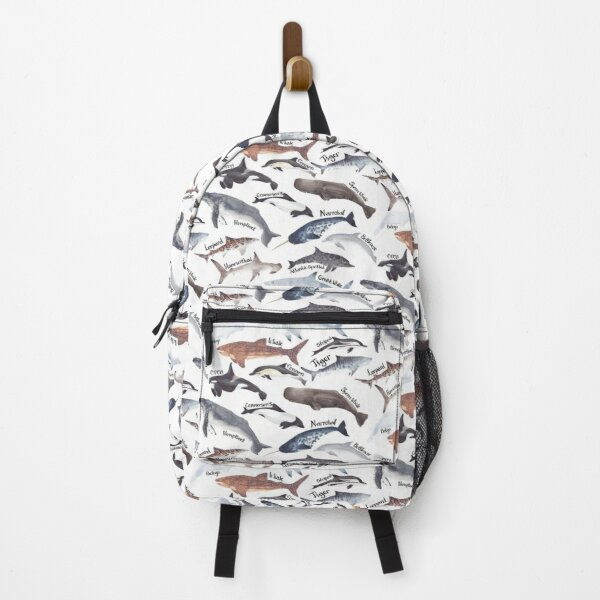 Types of whales, sharks and dolphins watercolour Backpack