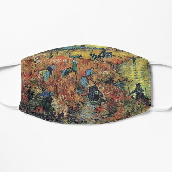 The Red Vineyards Oil Painting on Burlap by Vincent van Gogh Flat Mask