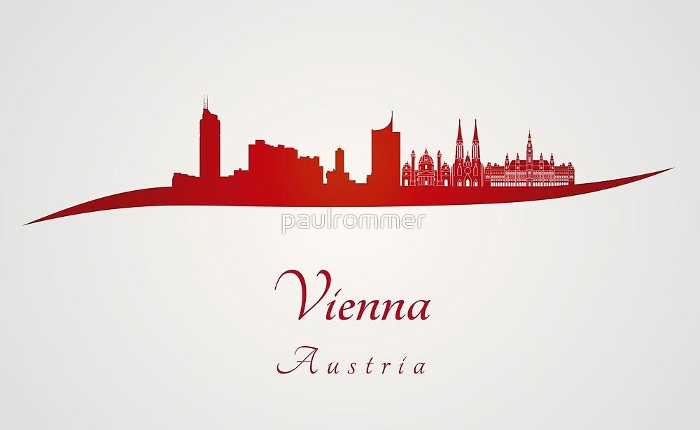 Vienna skyline in red by paulrommer