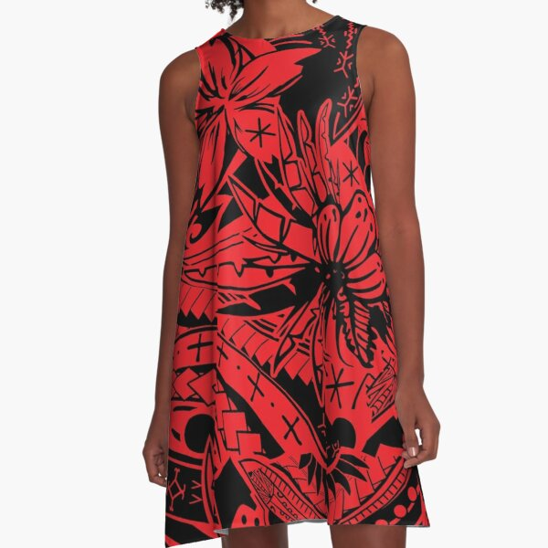 Polynesian Tribal Lava Red Leaf And Floral Print A-Line Dress
