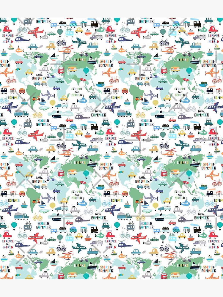 Explore The World Cute Transportation Map by SamAnnDesigns