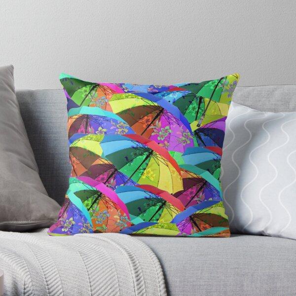 Colorful Floral Umbrellas Throw Pillow