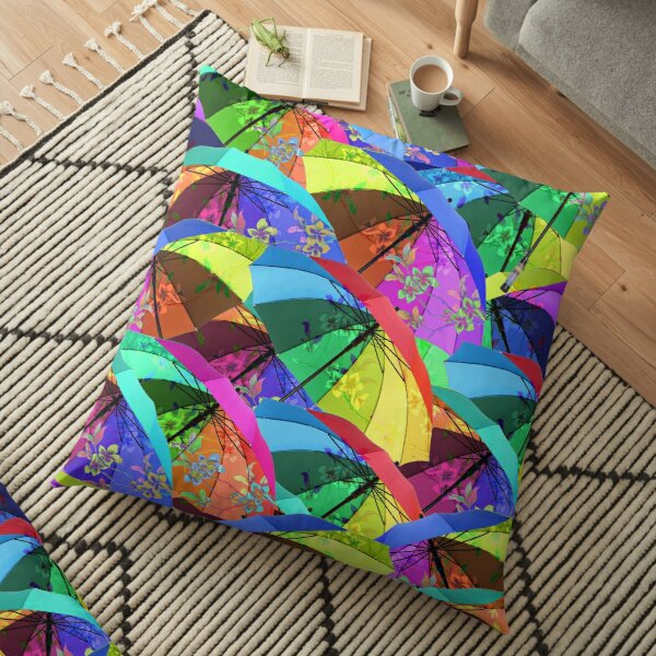 Colorful Floral Umbrellas Floor Pillow