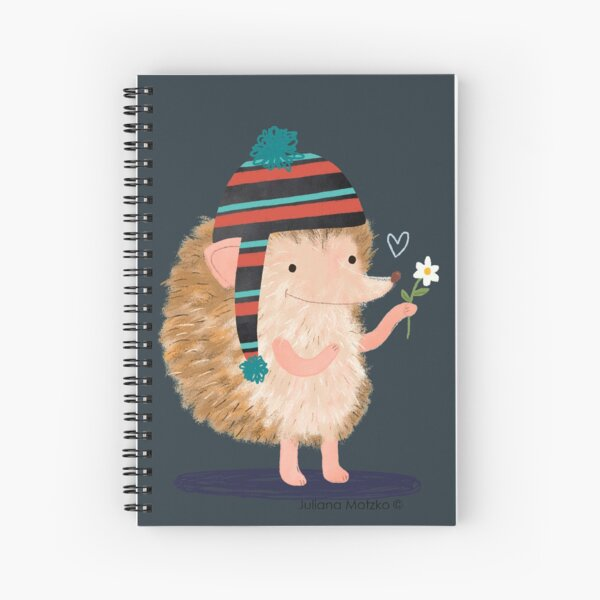 Hedgehog with flower Spiral Notebook