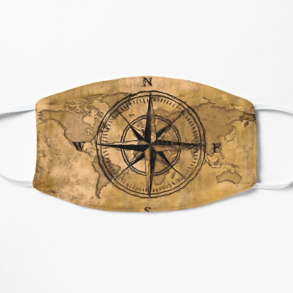 Destinations - Compass Rose and World Map Flat Mask