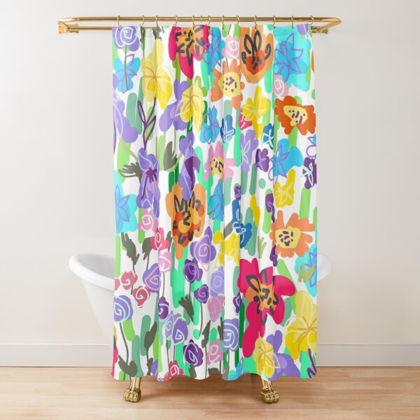Bright Colorful Neon Floral Garden Shower Curtain