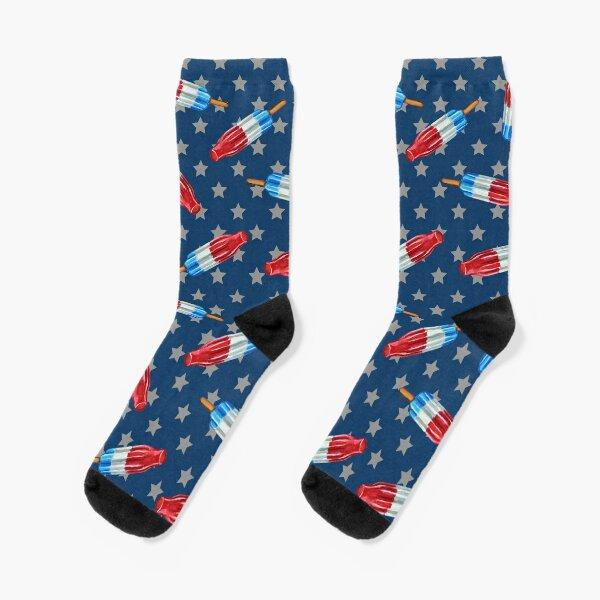 Rocket Pop Stars and Stripes Pattern by Robert Phelps Socks
