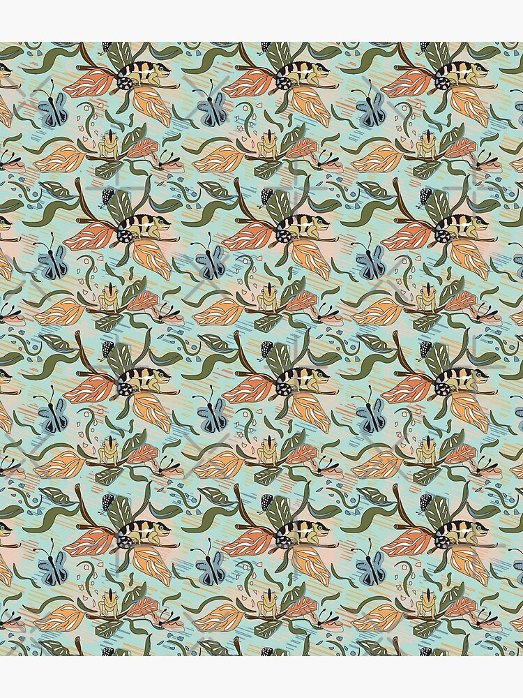 Madagascar Floral has butterflies and dragonflies with peach, orange and teal colors.  This color palette matches with my Chameleon design. by CreativeContour
