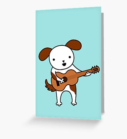 Puppy Playing Acoustic Guitar - Practice Makes Perfect  Greeting Card