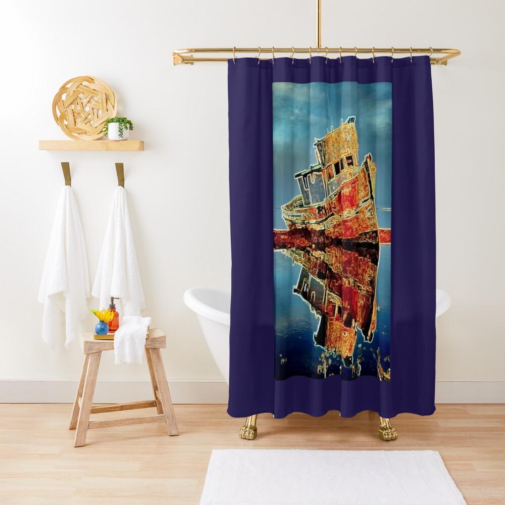 RUSTY TUG BOAT Shower Curtain