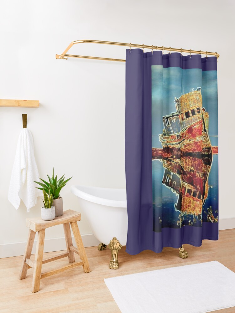 Alternate view of RUSTY TUG BOAT Shower Curtain