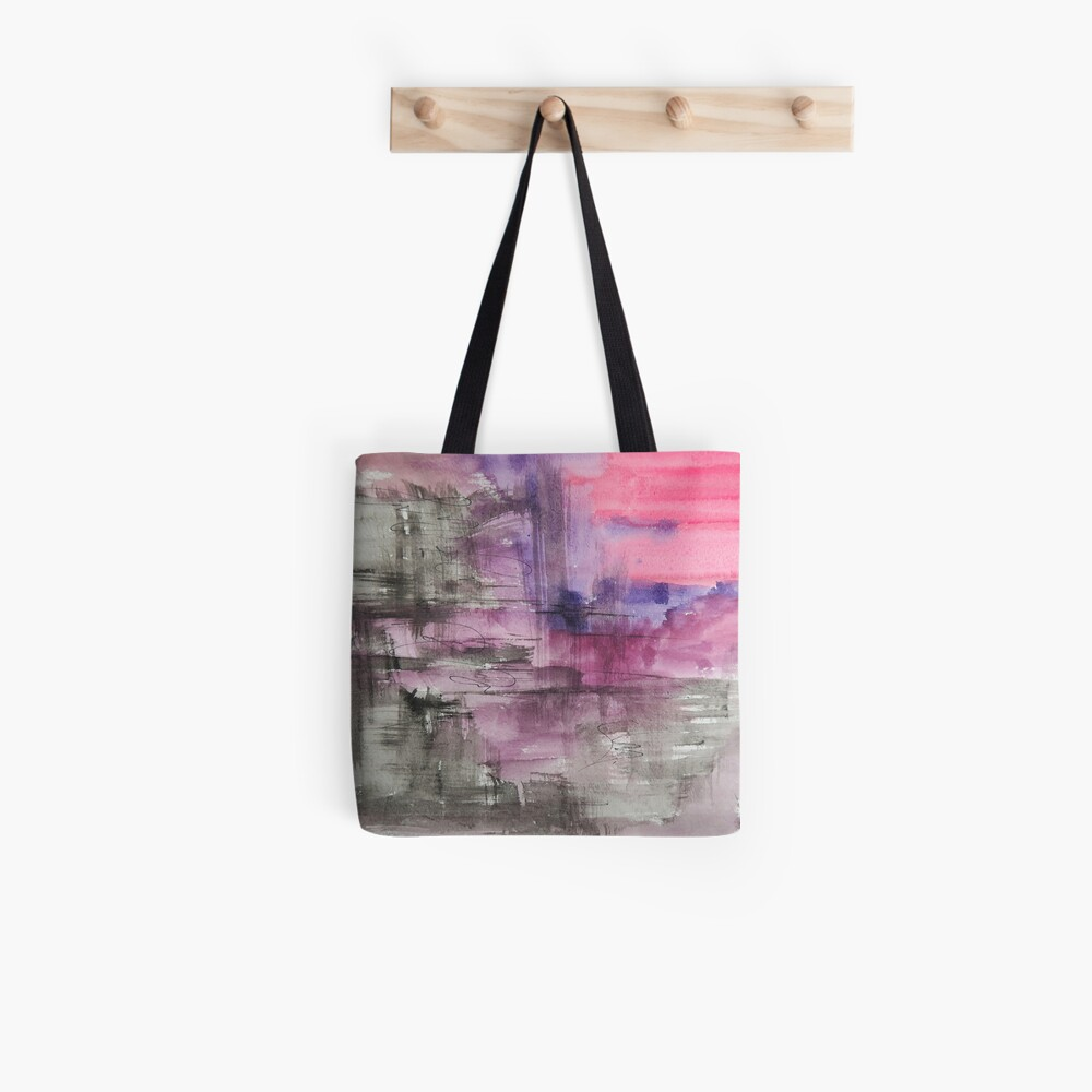 Hot Pink Purple and Black Dripping Abstract Tote Bag