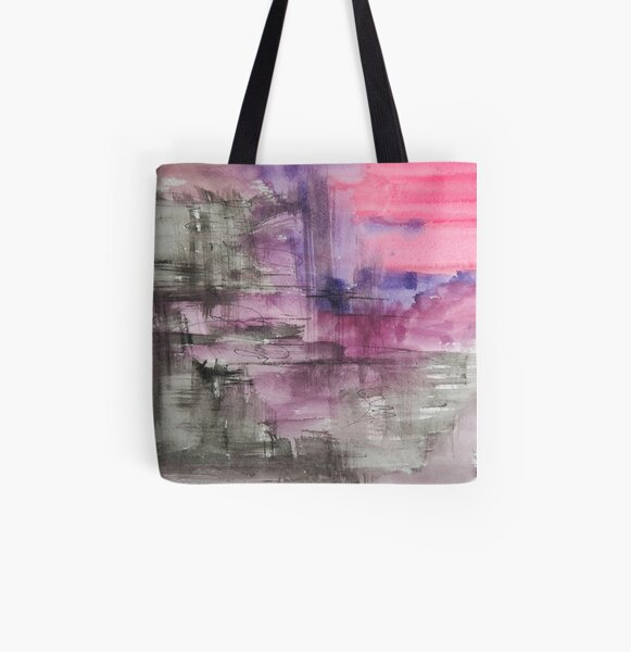 Hot Pink Purple and Black Dripping Abstract All Over Print Tote Bag