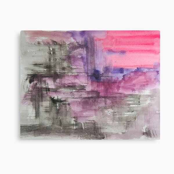 Hot Pink Purple and Black Dripping Abstract Canvas Print