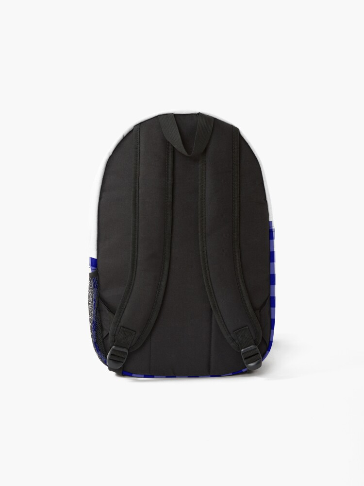 Alternate view of Navy Blue and White Gingham Check Plaid Pattern Backpack