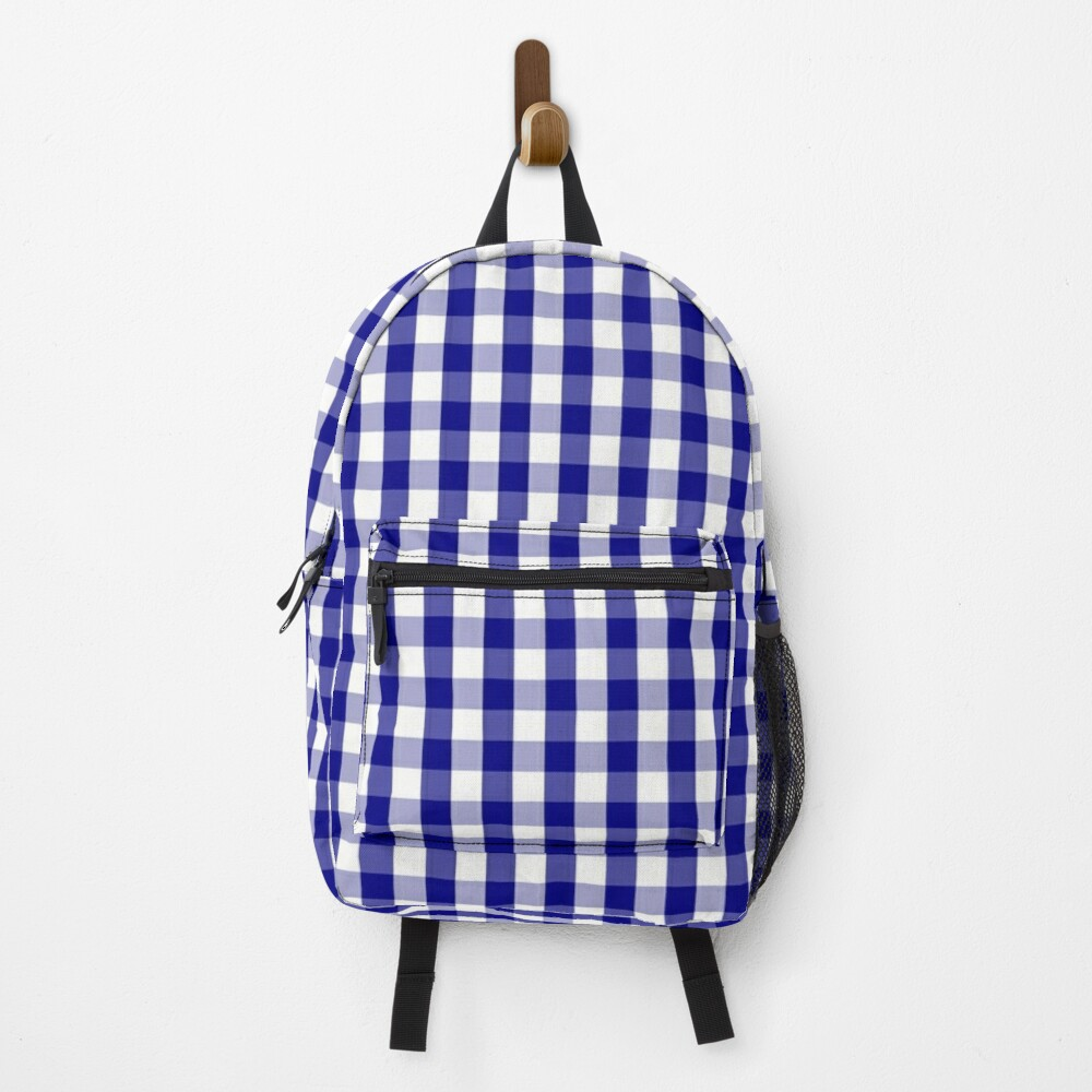 Navy Blue and White Gingham Check Plaid Pattern Backpack