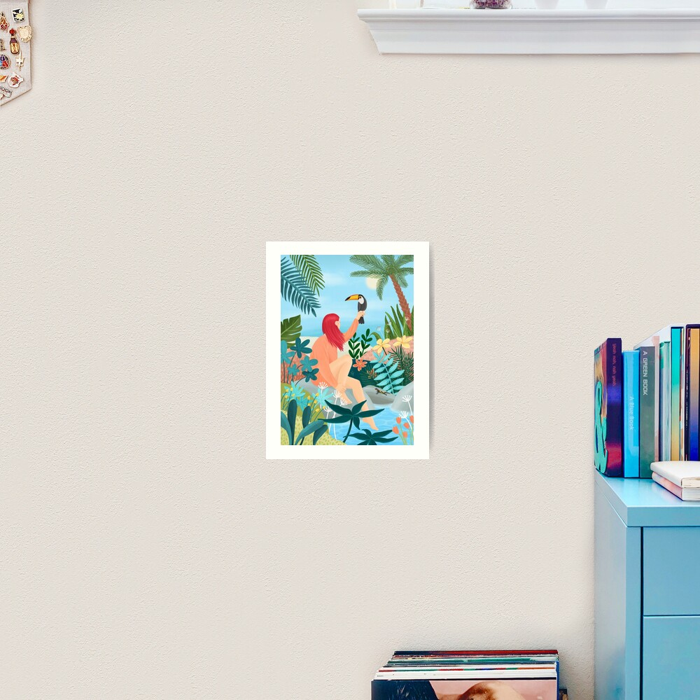 Girl with a Tucan Art Print