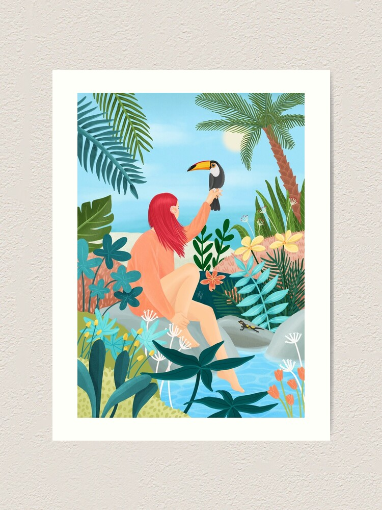 Alternate view of Girl with a Tucan Art Print
