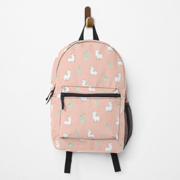 alpaca and cactus pattern in peach pink  Backpack