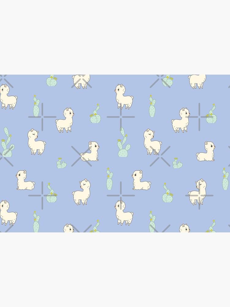 Cactus and alpaca pattern in blue  by Miri-Noristudio