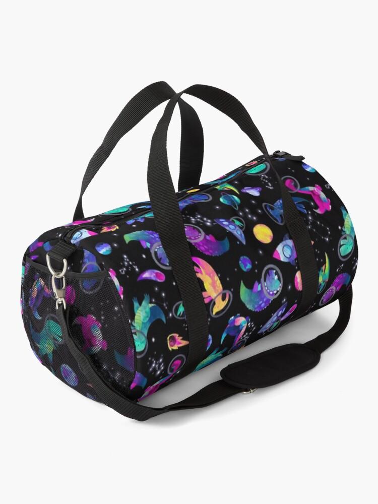 Alternate view of Space Dinosaur Astronauts Watercolor Pink Purple Pattern Duffle Bag