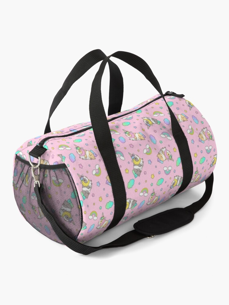 Alternate view of Piggycorn Pattern in pink  Duffle Bag