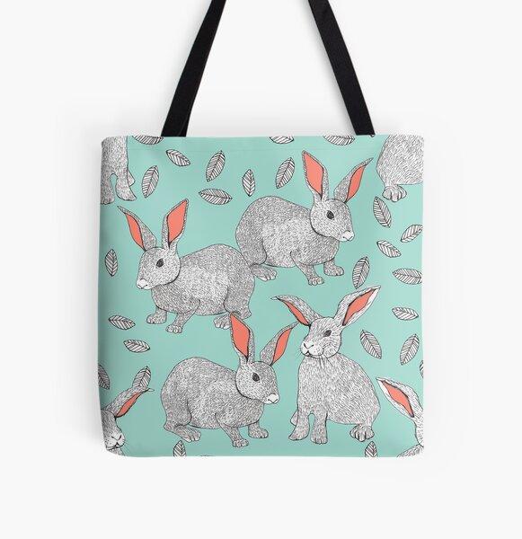 Rabbits All Over Print Tote Bag