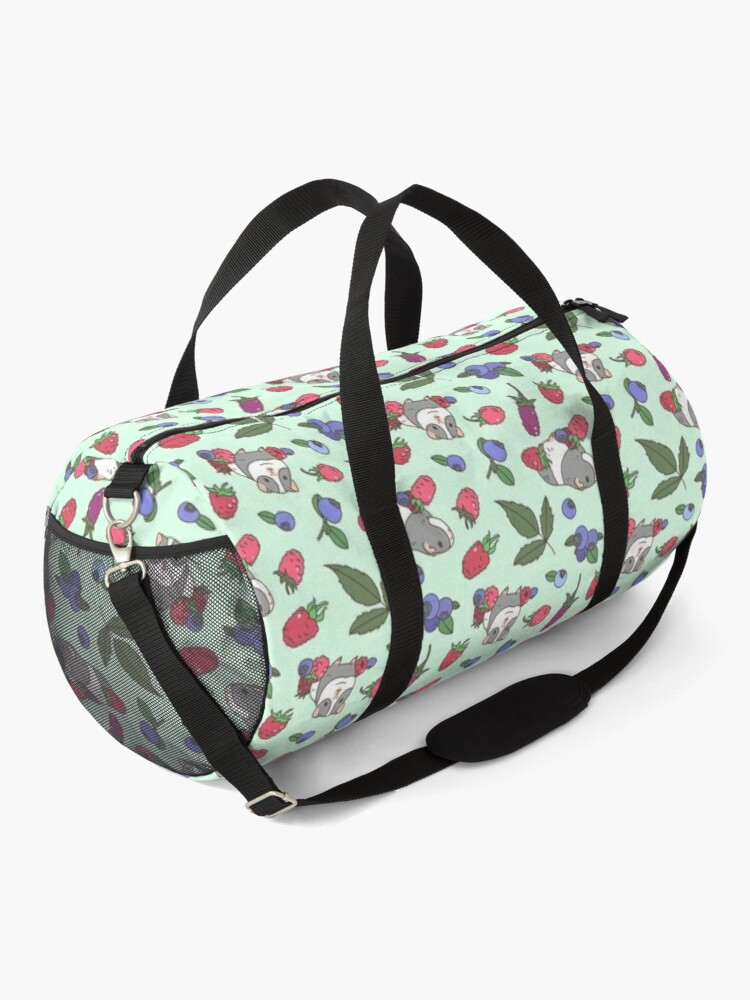 Alternate view of Gray Guinea pig, raspberries and blueberries pattern in mint background  Duffle Bag