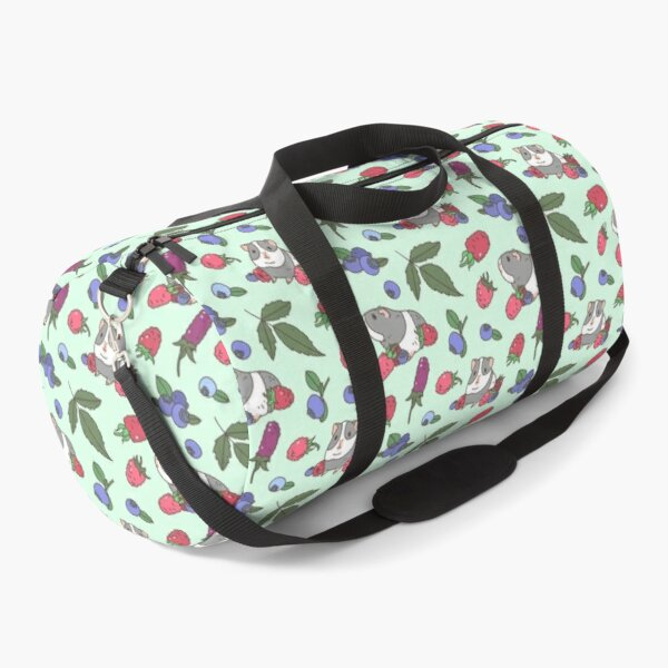 Gray Guinea pig, raspberries and blueberries pattern in mint background  Duffle Bag