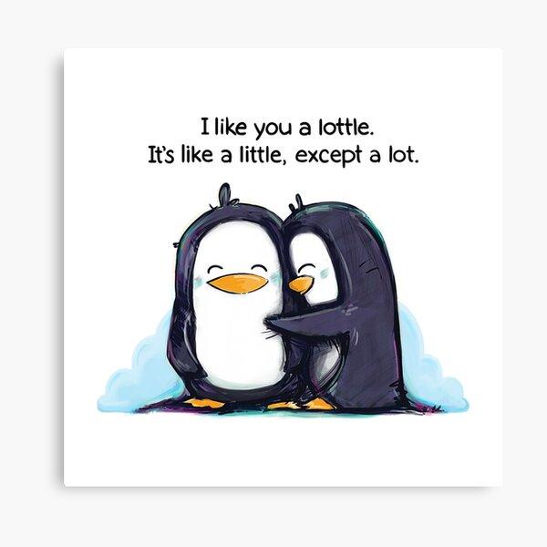 I Like You a Lottle Penguins Canvas Print