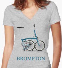 Brompton Folding Bike Women's Fitted V-Neck T-Shirt