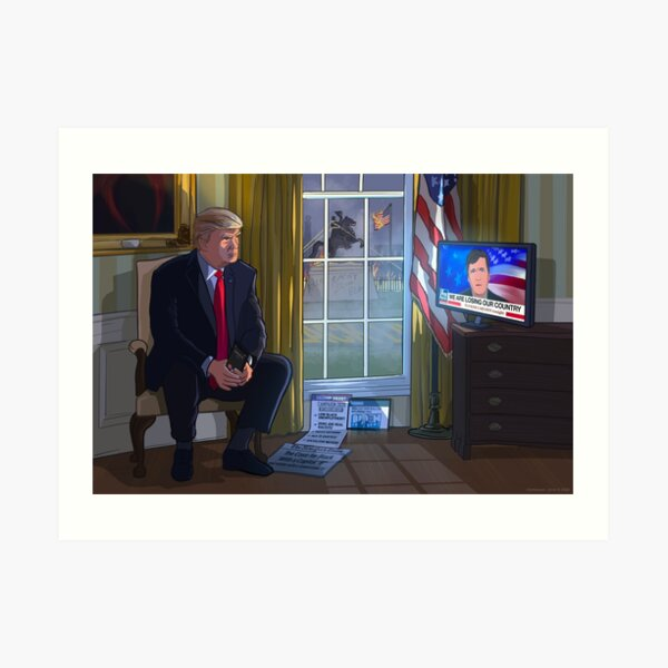 President Trump watching Tucker Carlson Art Print