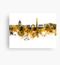 Washington DC skyline in orange watercolor on white background  Canvas Print