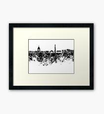 Washington DC skyline in black watercolor on white background  Framed Print