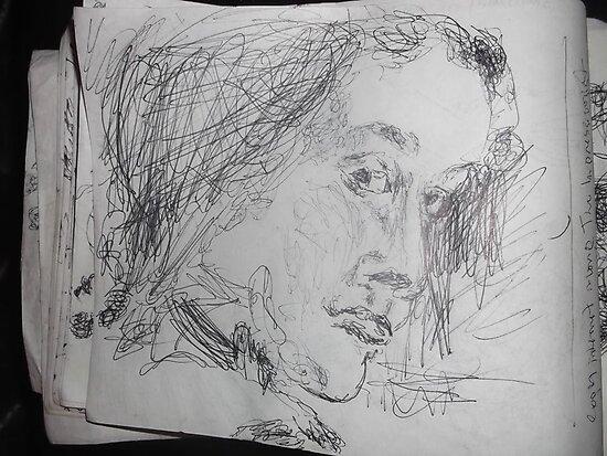 2 x Female heads/(1 of 3) -(030413)- A5 sketchbook/white + black biro pen by paulramnora