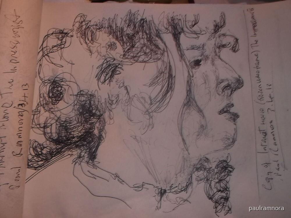 2 x Female heads/(2 of 3) -(030413)- A5 sketchbook/white + black biro pen by paulramnora