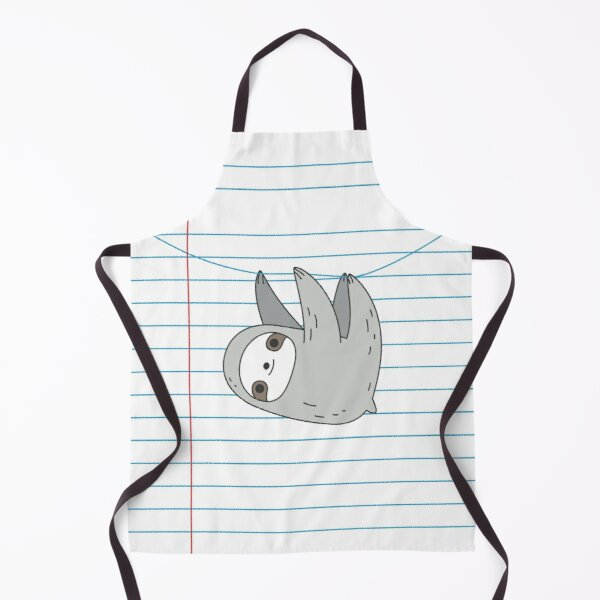 Sloth hanging on a notebook page Apron