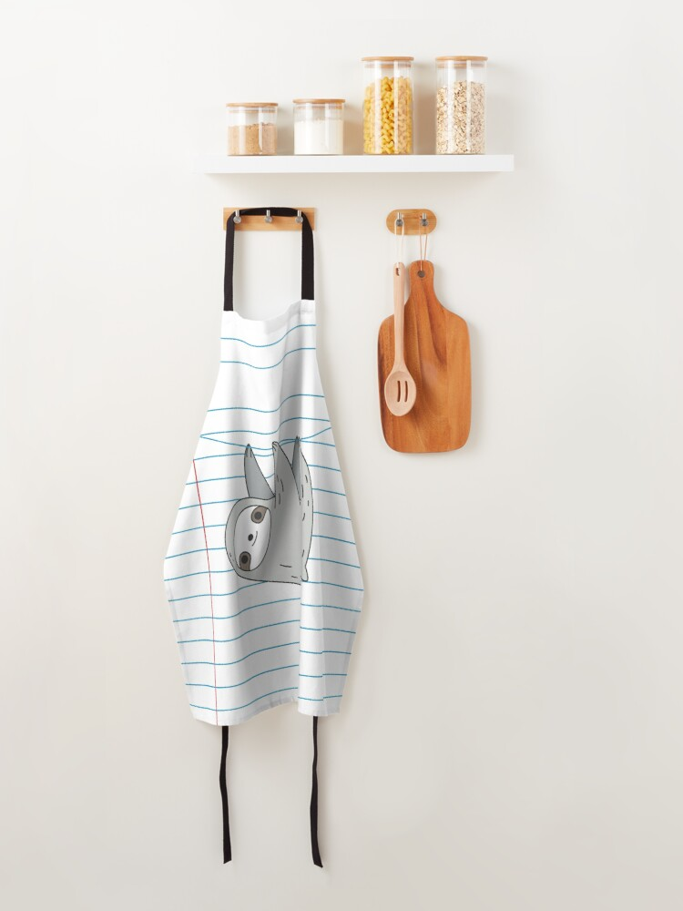 Alternate view of Sloth hanging on a notebook page Apron