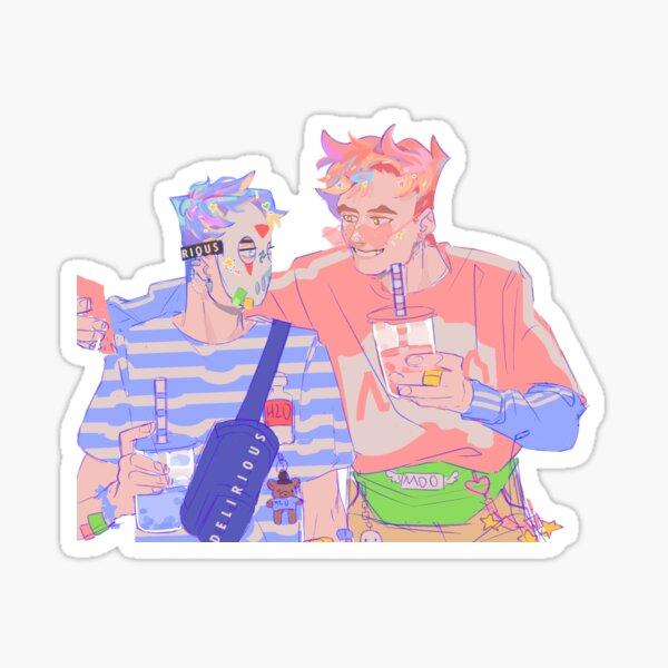 pastel moo and del Sticker