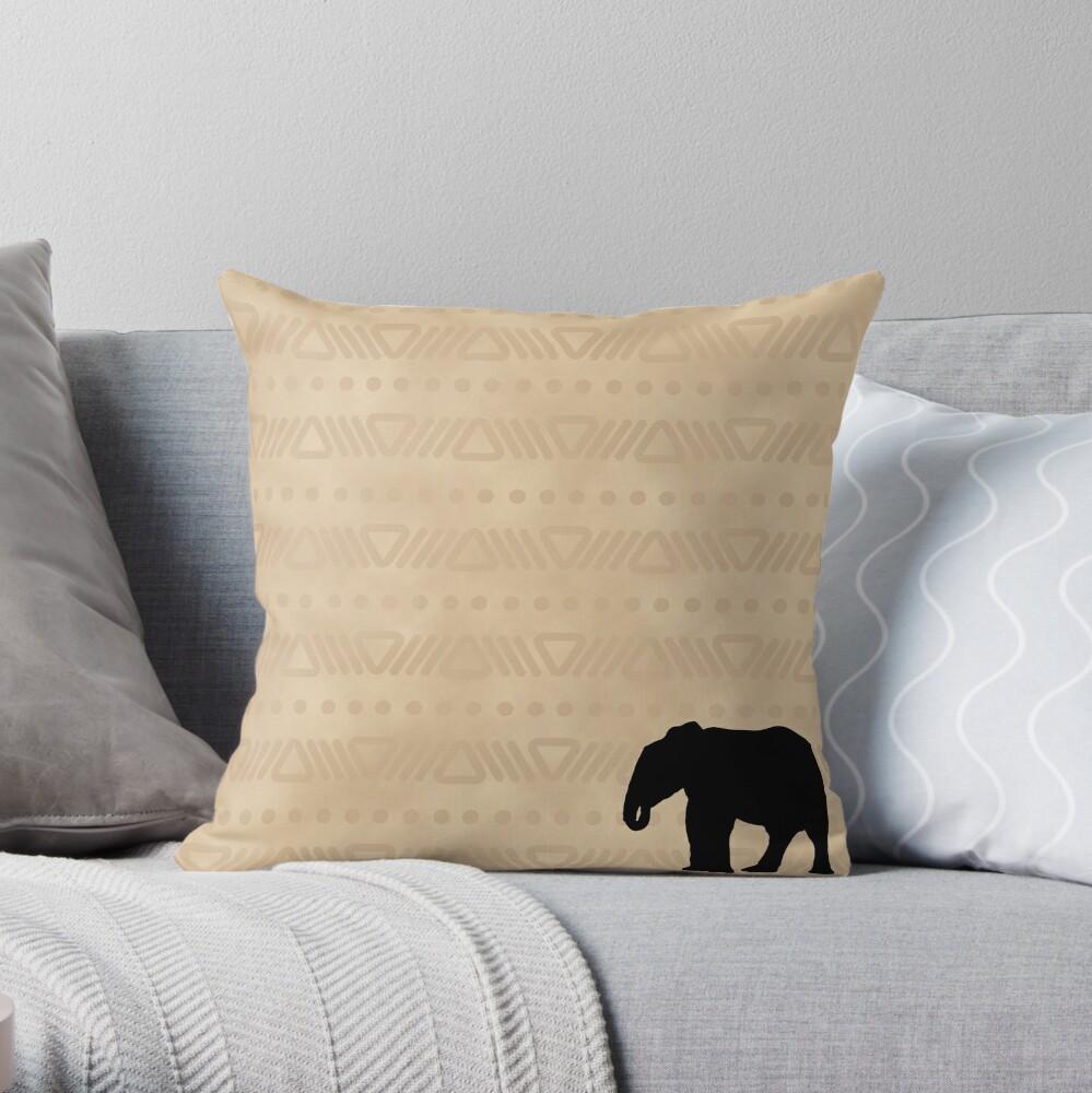 African Safari Elephant Throw Pillow