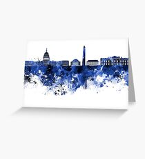 Washington DC skyline in blue watercolor on white background  Greeting Card