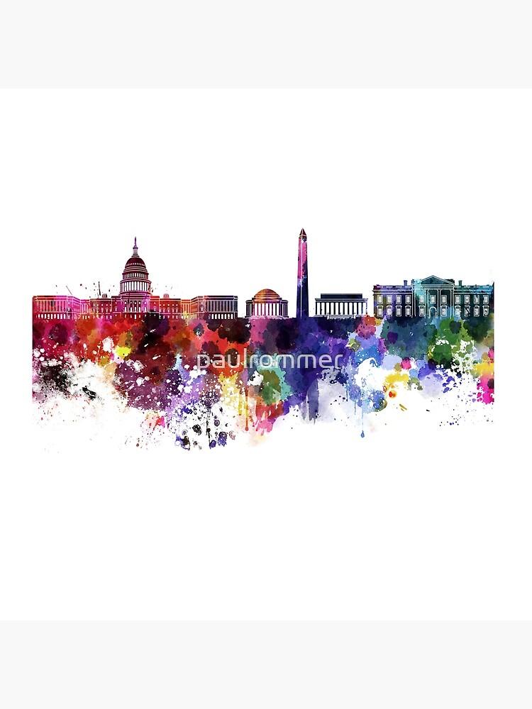 Washington DC-Skyline im Aquarell auf weißem Hintergrund von paulrommer