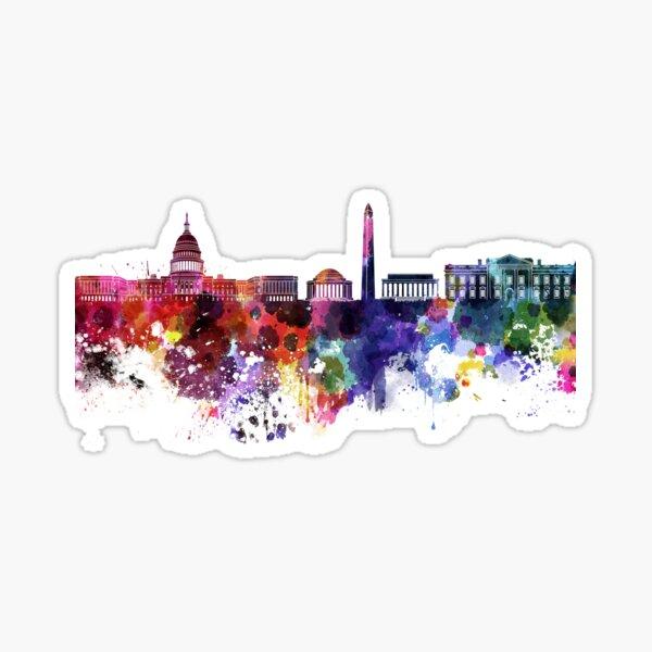 Washington DC skyline in watercolor on white background  Sticker