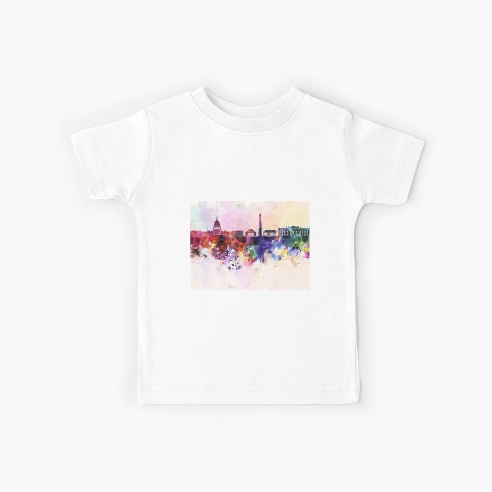 Horizonte de Washington DC en fondo acuarela Camiseta para niños
