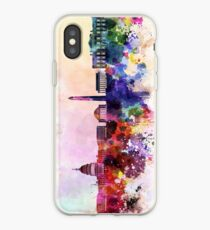 Washington DC skyline in watercolor background  iPhone Case