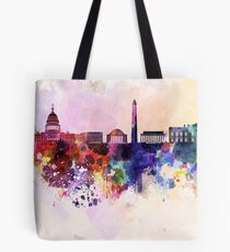 Washington DC skyline in watercolor background  Tote Bag