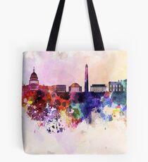 Washington DC-Skyline im Aquarellhintergrund Tasche